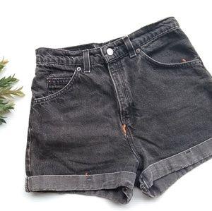 Vintage Levi's • cuffed high rise black jean short